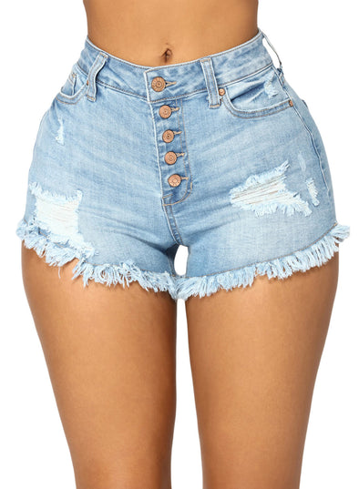 Close Fit High Waist Denim Shorts (LC786105-4-1)