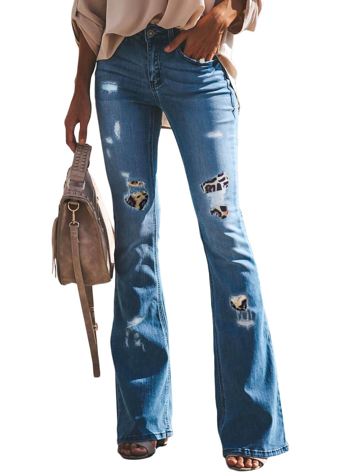 Leopard Flared Jeans