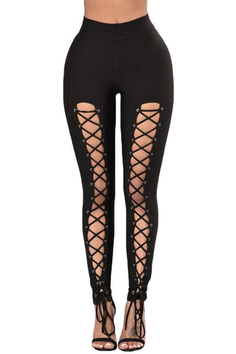 Black Grommet Lace Up Front Leggings (LC79920-2-1)