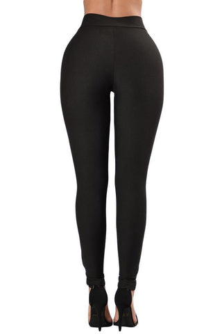 Black Grommet Lace Up Front Leggings (LC79920-2-2)