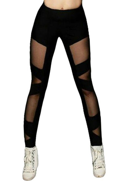 Cross Mesh Sports Leggings (LC79996-2-1)