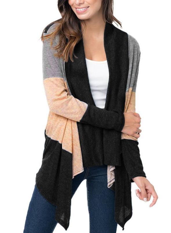 Shawl Neck Colorblock Long Sleeve Cardigan