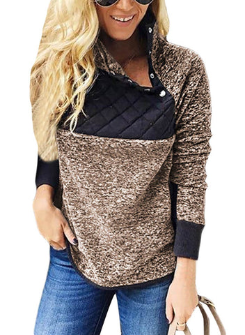 Fleece Asymmetrical Snap Pullover