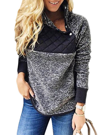Fleece Asymmetrical Snap Pullover (LC85146-2-1)