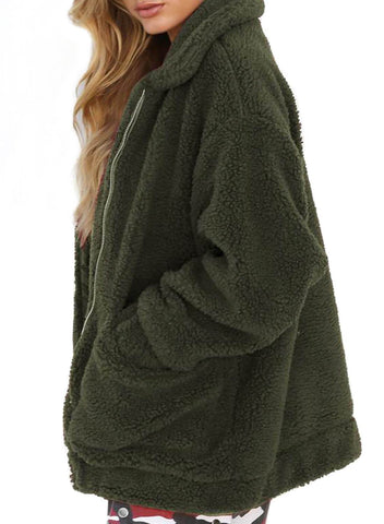 Lamb Wool Zipped Chunky Coat