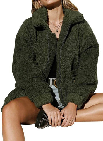 Image of Lamb Wool Zipped Chunky Coat