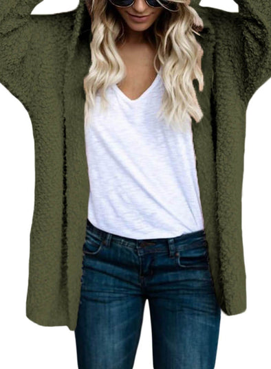 Fluffy Hooded Open Front Cardigan