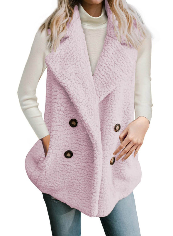 Button Detail Lambswool Vest Jacket (LC85226-10-1)