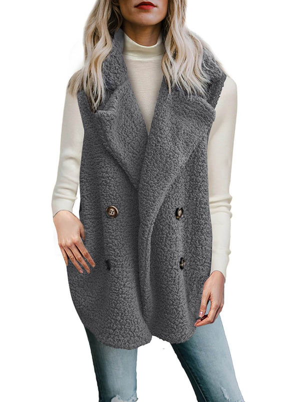 Button Detail Lambswool Vest Jacket (LC85226-11-1)