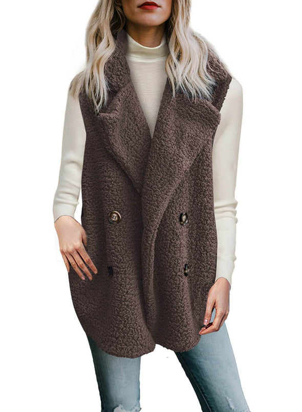 Button Detail Lambswool Vest Jacket (LC85226-17-1)