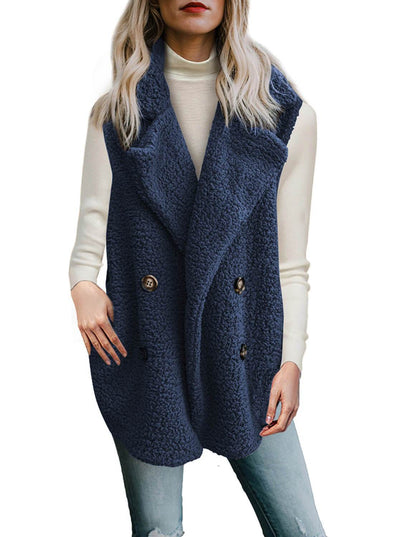Button Detail Lambswool Vest Jacket (LC85226-5-1)