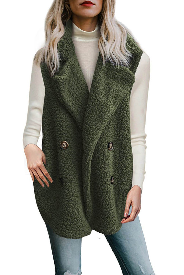 Button Detail Lambswool Vest Jacket (LC85226-9-1)
