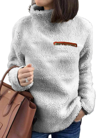 Image of Apricot Plush Pullover Stand Collar Sweatshirt