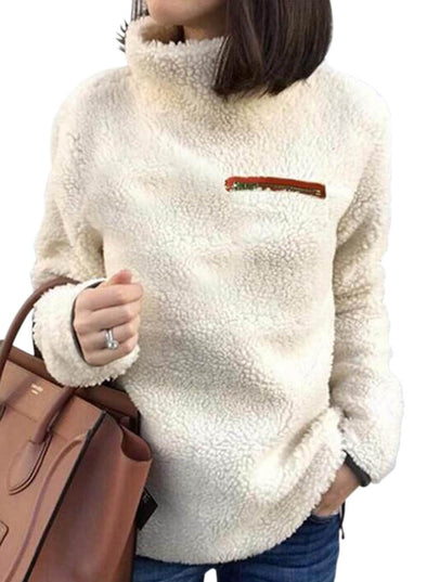 Apricot Plush Pullover Stand Collar Sweatshirt (LC85247-18-1)