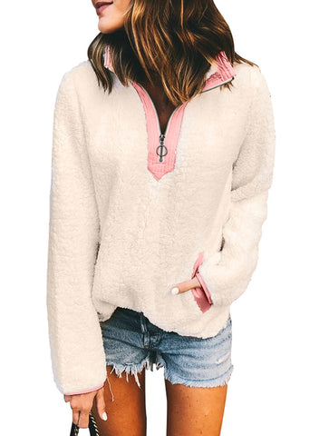 Image of V Neck Long Sleeve Furry Sweatshirt