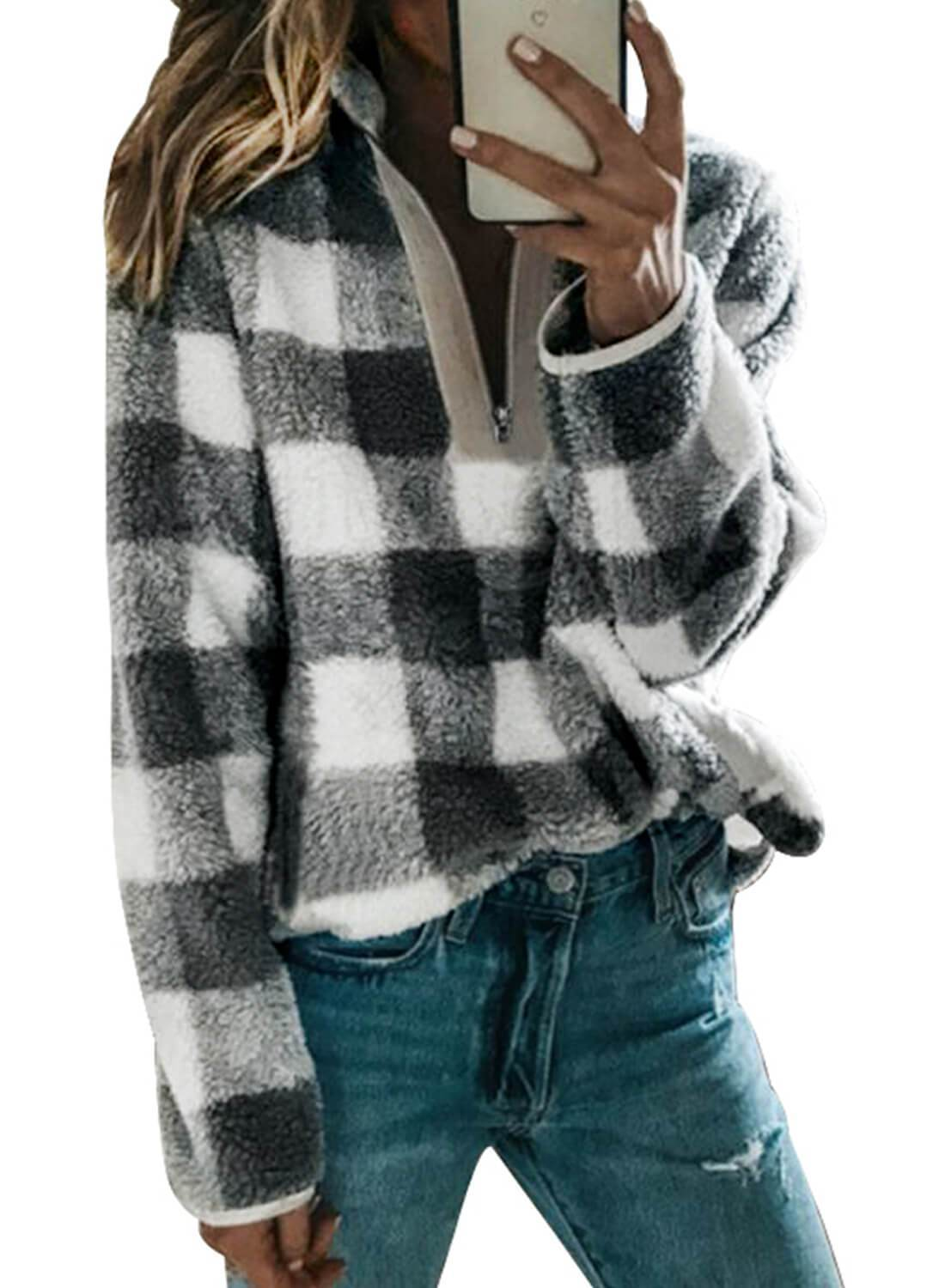 V Neck Long Sleeve Furry Sweatshirt
