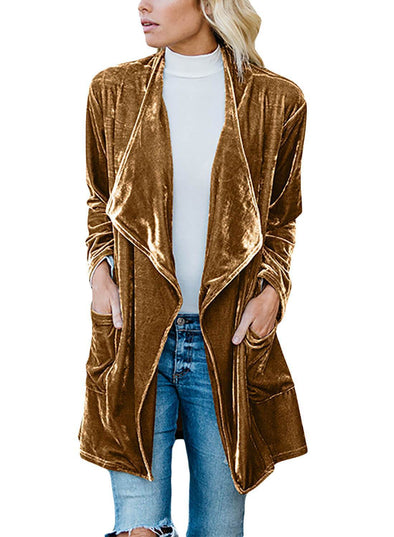 Draped Open Front Velvet Jacket (LC85253-7-1)