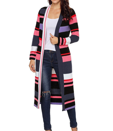 Striped Colorblock Open Front Long Cardigan