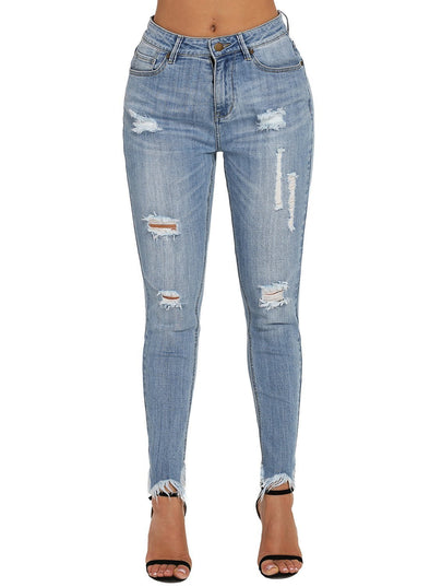 Blue Wash Fringe Affair Flare Jeans (LC786008-4-1)