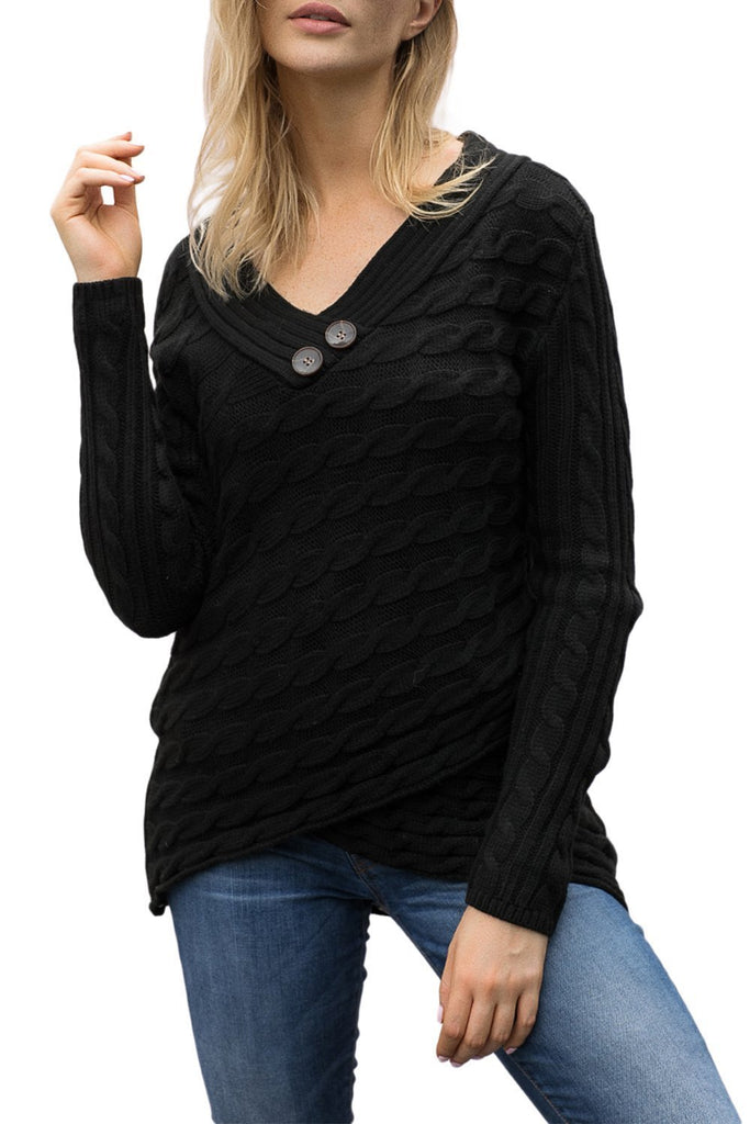 Buttoned Sweetheart Neck Cable Knit Sweater (LC27833-2-3)