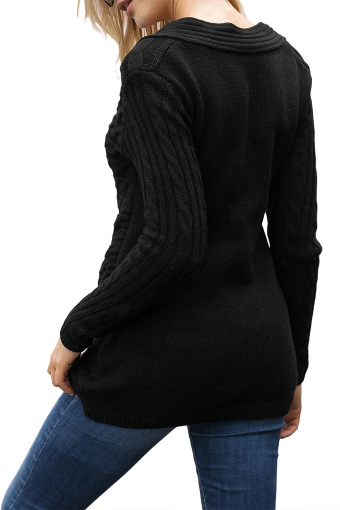 Buttoned Sweetheart Neck Cable Knit Sweater (LC27833-2-2)