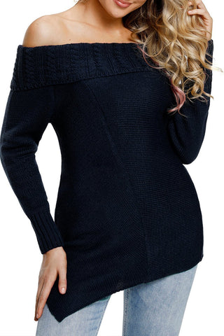 Image of Asymmetric Hemline Off Shoulder Sweater (LC27829-5-1)