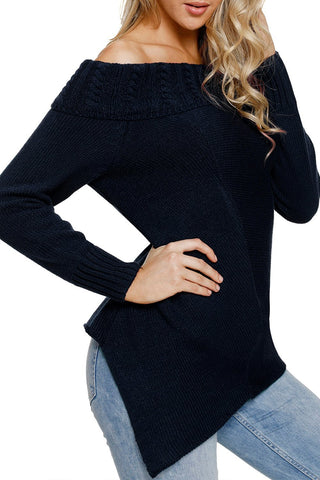 Image of Asymmetric Hemline Off Shoulder Sweater (LC27829-5-3)