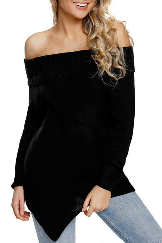 Image of Asymmetric Hemline Off Shoulder Sweater (LC27829-2-1)