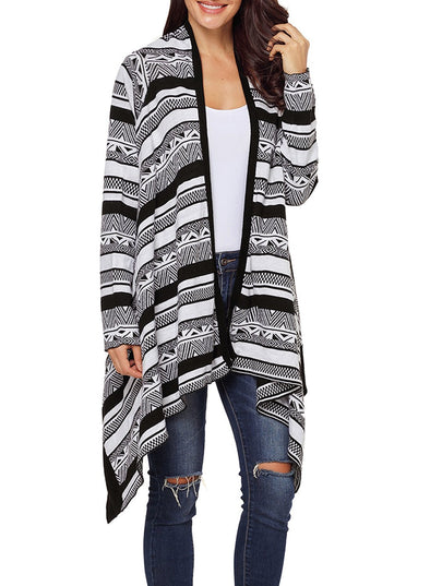 Draped Azetc Print Open Front Cardigan (LC27901-2-1)