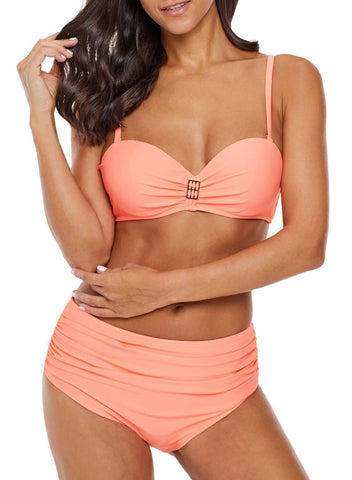Image of Coverage Molded Cup Halter High Waist Bikini (LC410578-4)