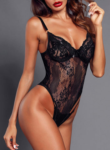 Yummy Scalloped Lace Teddy Lingerie (LC32095-2-2)