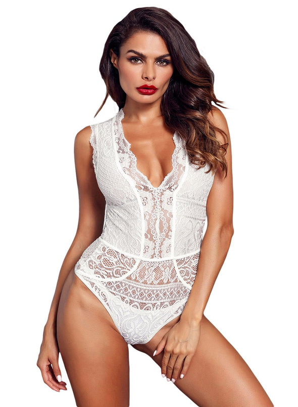 V Neck Hollow-out Lace Bodysuit (LC32247-1-1)