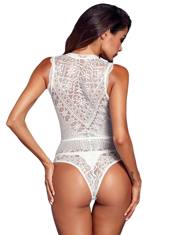 V Neck Hollow-out Lace Bodysuit (LC32247-1-2)