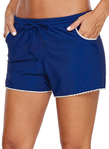 Cute Scalloped Trim Navy Blue Swim Shorts (LC410839-5-3)