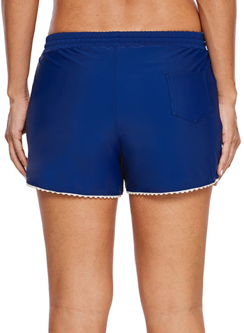 Cute Scalloped Trim Navy Blue Swim Shorts