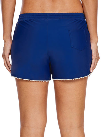 Cute Scalloped Trim Navy Blue Swim Shorts (LC410839-5-2)