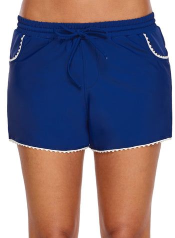 Cute Scalloped Trim Navy Blue Swim Shorts (LC410839-5-1)
