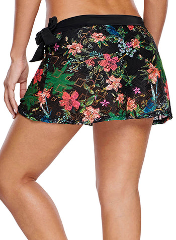 Floral Print Lacy Swim Skirt