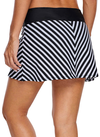 Chevron Striped Swim Skirt (LC410828-1-2)