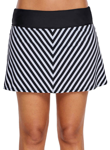 Chevron Striped Swim Skirt (LC410828-1-3)
