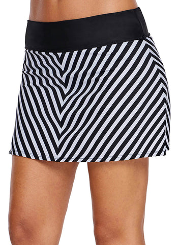 Chevron Striped Swim Skirt (LC410828-1-4)