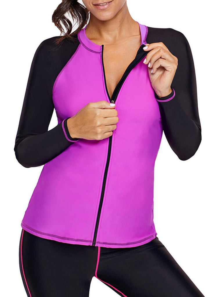 Color block Zip Down Rashguard Top (LC410854-6-1)