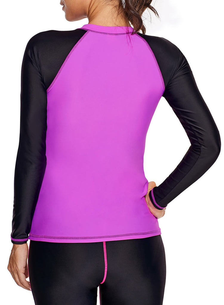 Color block Zip Down Rashguard Top (LC410854-6-2)