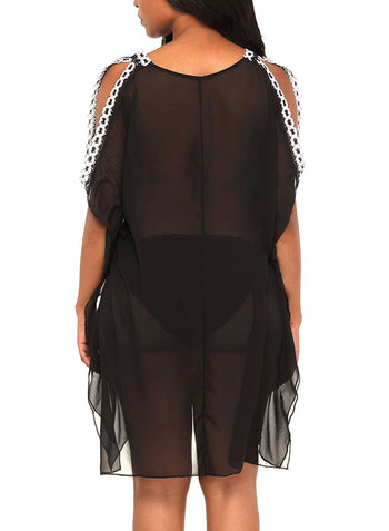 Delicate Embroidery Shoulder Sheer Mesh Cover Up