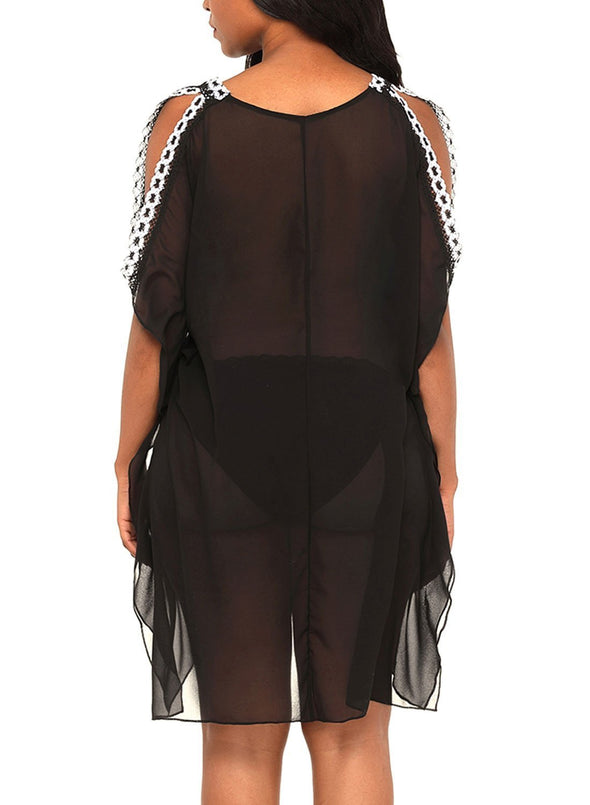 Delicate Embroidery Shoulder Sheer Mesh Cover Up (LC42247-2-2)