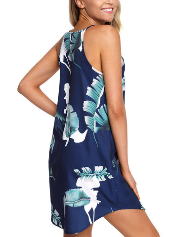 Image of Floral Print Halter Sleeveless Dress