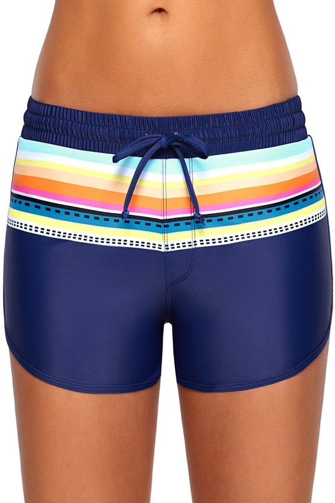 Striped Print Accent Drawstring Board Shorts