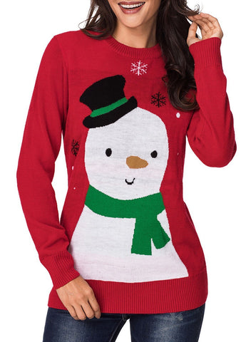 Image of Cartoon Snow Christmas Sweater (LC27908-3-1)