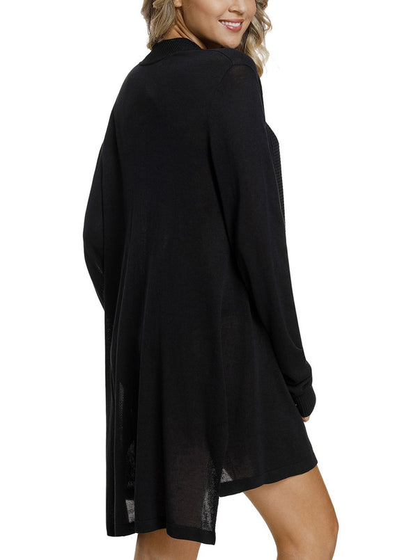 Ribbed Open Front Long Sleeve Cardigan