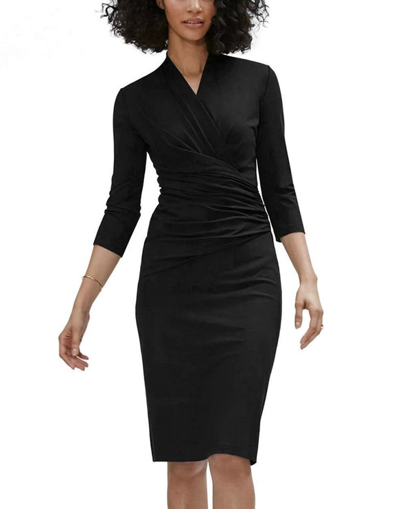 3/4 Sleeve Pleated Wrap Midi Dress (LC610256-2-1)